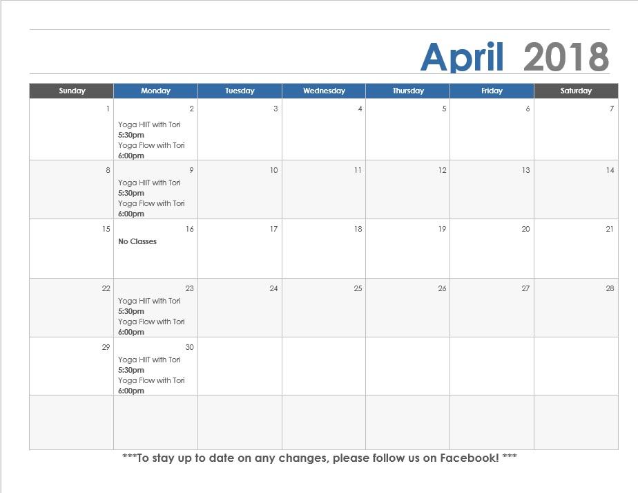 April calendar Concordia