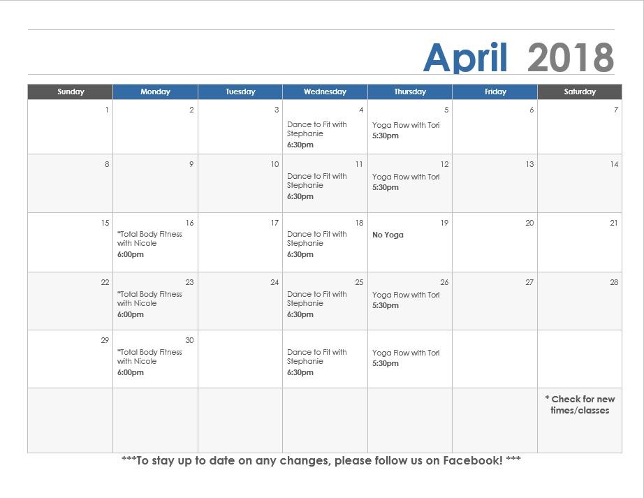 April calendar Lexington