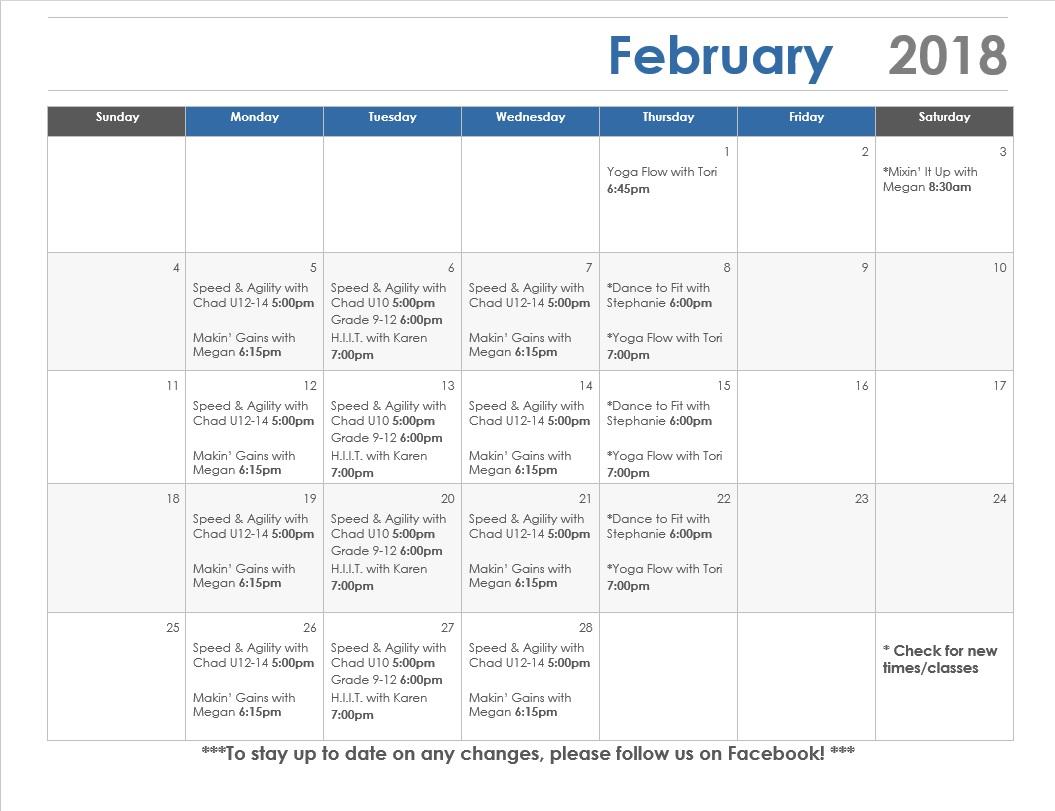Febraury calendar Odessa