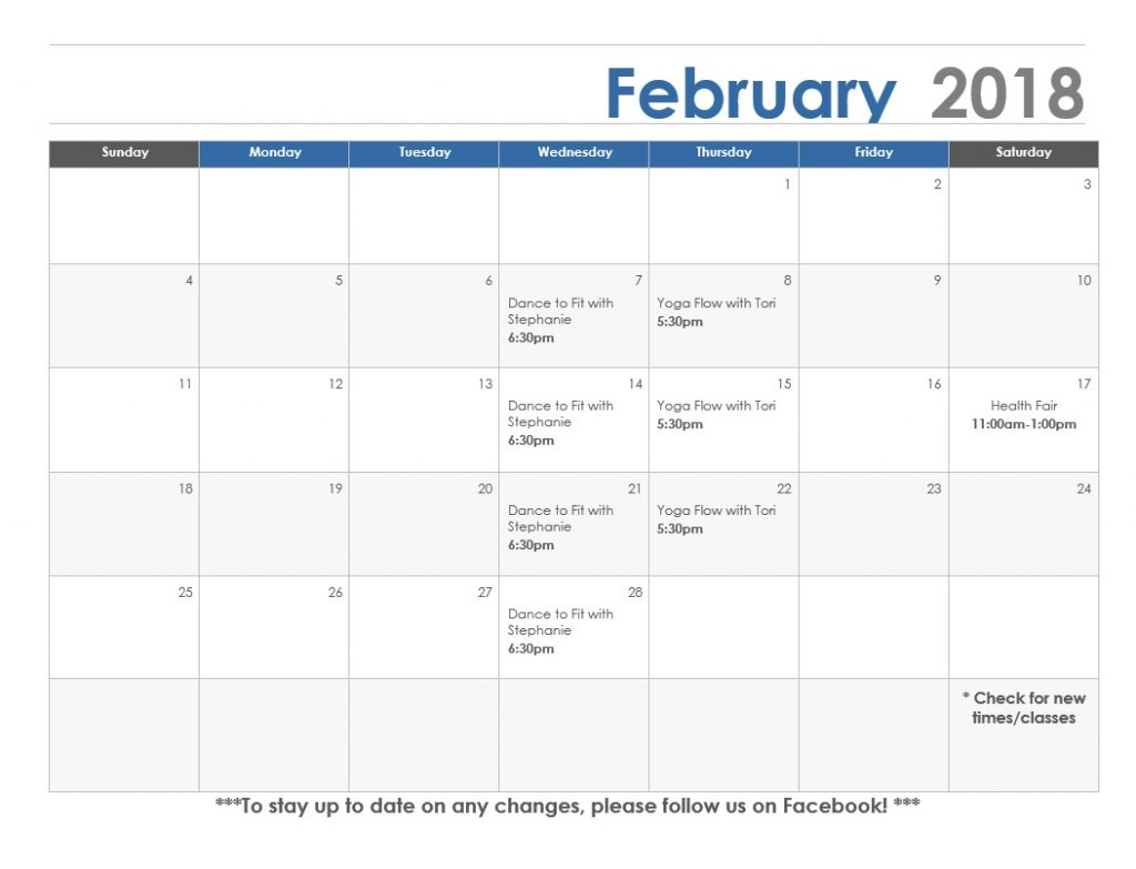 February calendar Lexington