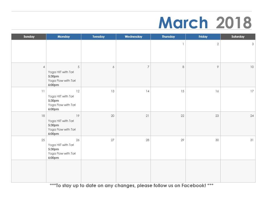 March calendar Concordia