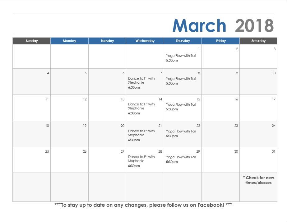 March calendar Lexington